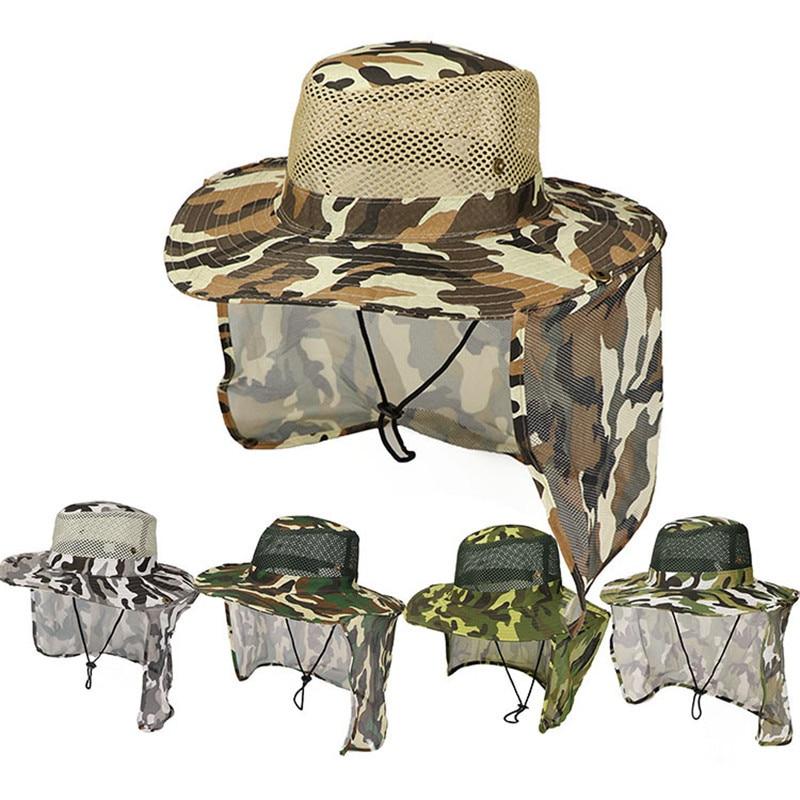 Камуфляжная рыболовная походная уличная Солнцезащитная крышка на шею с широкими полями, военная охотничья шапка