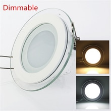 Dimmbare LED-Panel Licht Runde/Platz Glas Panel Downlight 6W 12W 18W Decke Einbau Lichter Spot licht Indoor Lampen AC85-265V