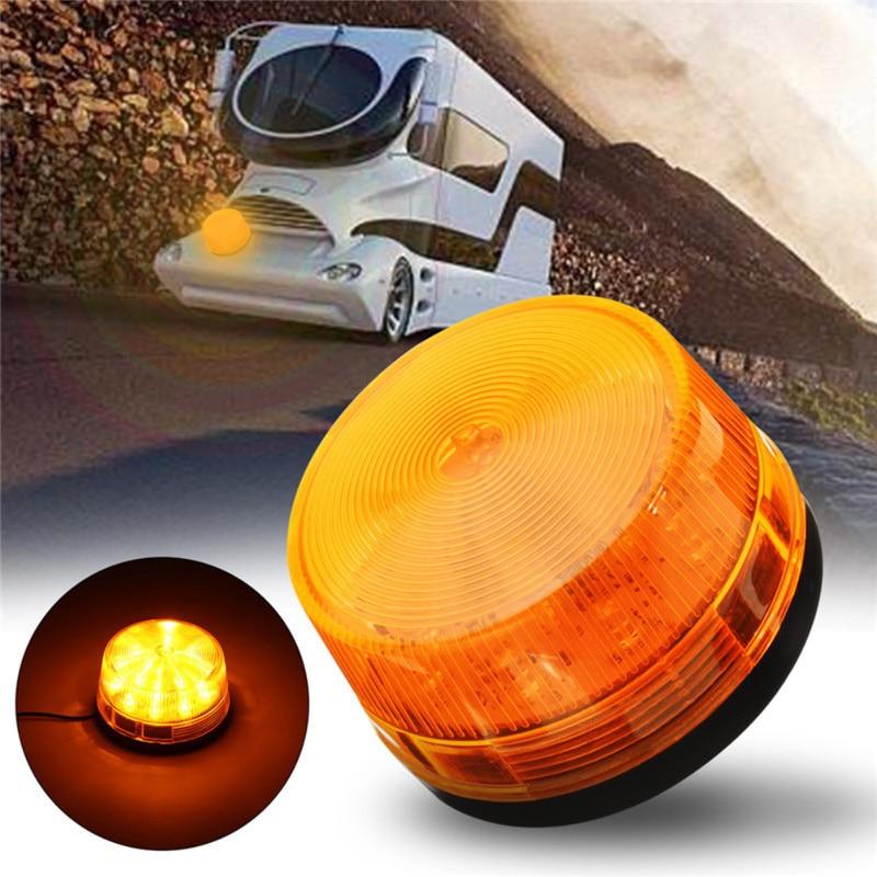 1pc Car 15 LED Amber Signal Light DC12V IP65 Waterproof Auto Emergency Flash Strobe Rotating Beacon Light RV Accessories