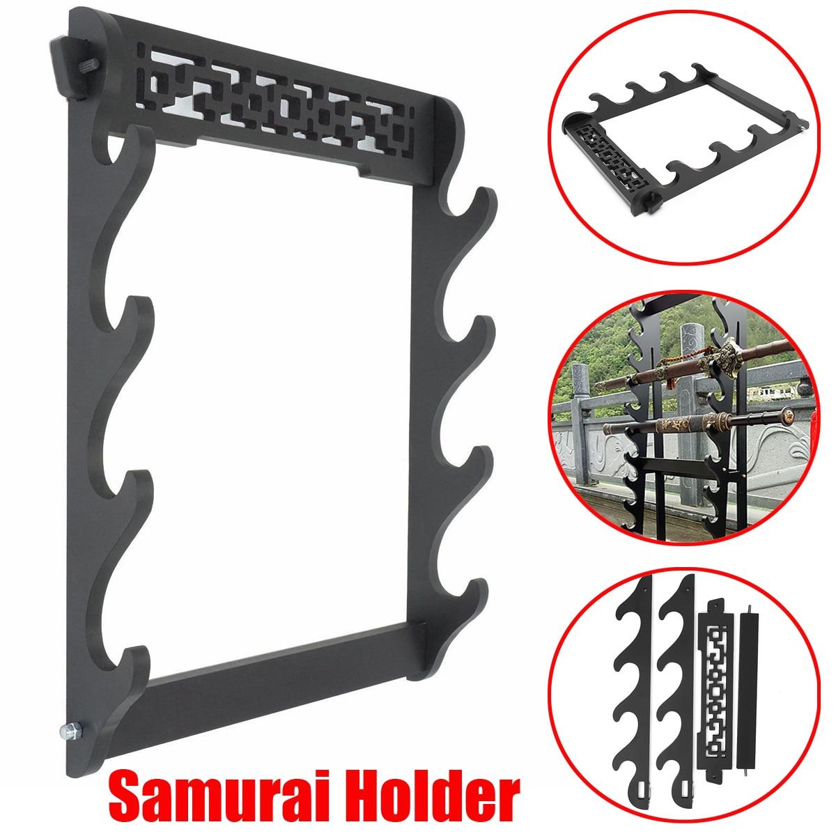 Soporte de pared de 4 niveles espada samurái soporte para katana soporte de exhibición estatuas soporte para esculturas para decoración del hogar artesanías