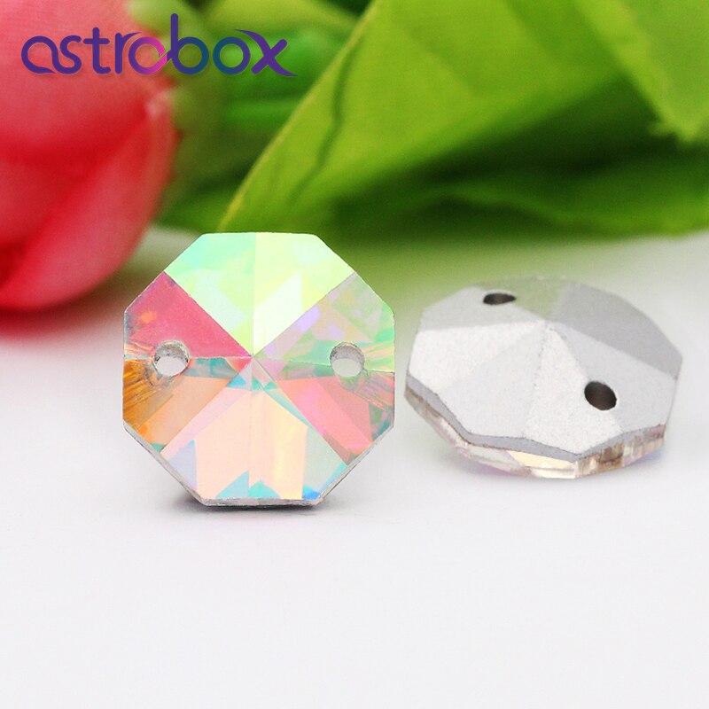 Coser en cristal de diamantes de imitación Cristal AB Pointback piedras Octágono forma de cristal 10mm-18mm cuentas ropa bolsa accesorios regalo personalizado