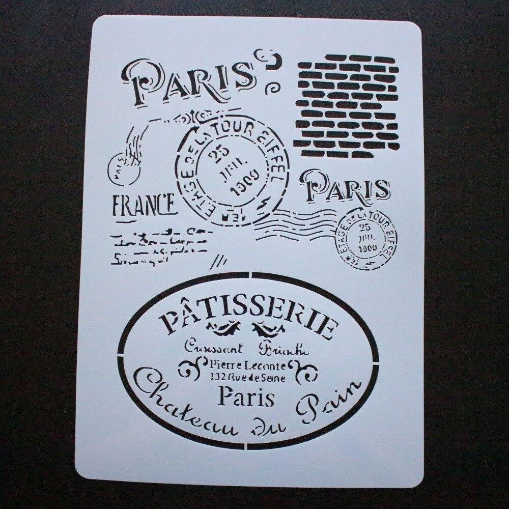 Французский Париж, сделай сам, трафареты для раскрашивания стен, штампованная для скрапбукинга, декоративная открытка для альбома, А4, 2019