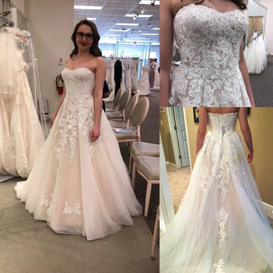 فستان زفاف طويل أنيق ، خط رقبة على شكل قلب ، زينة لؤلؤية ، خط a ، رسن ، فستان زفاف