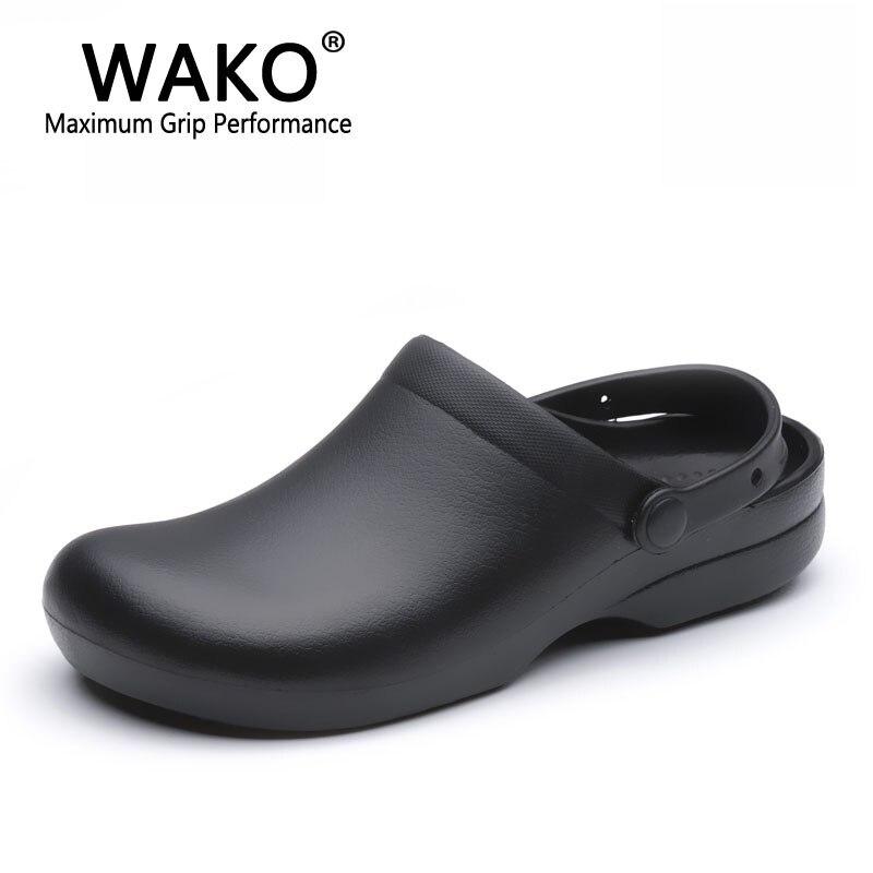 WAKO 9011 hombres zapatos para chef Super antideslizante zapatos de trabajo de cocina sandalias de cocina zuecos con correas deslizamiento en negro transpirable tamaño 36-44
