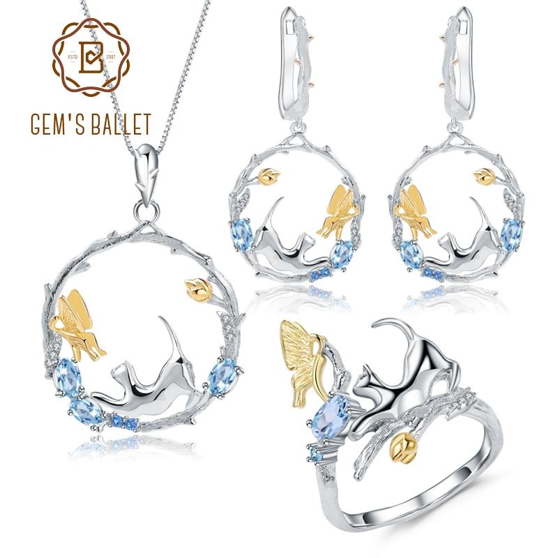 Gems ballet natural suíço azul topázio conjuntos de jóias 925 prata esterlina artesanal gato & borboleta anel brincos pingente para mulher