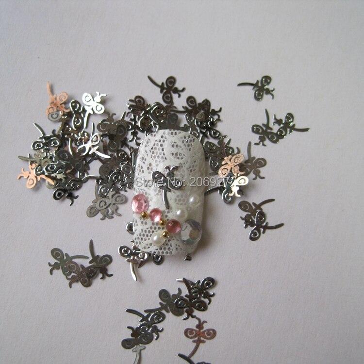 MS8-1 100pcs Silver Cute Dragonfly Nail Art Metal Sticker Nail Art Decoration Non-adhesive Sticker