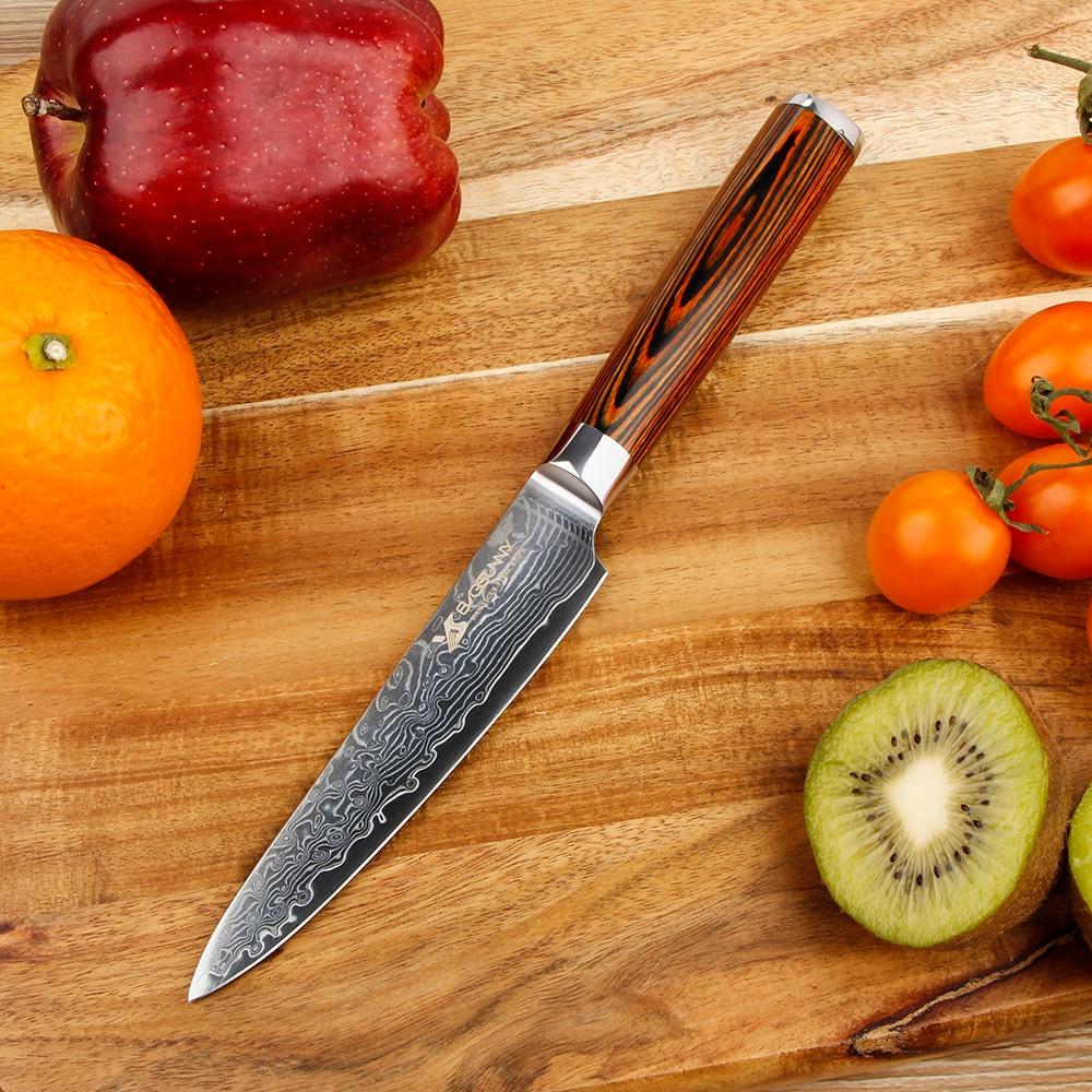 Cuchillo de utilidad BIGSUNNY, cuchillo pelador, cuchillo de cocina de acero damasco de 5 pulgadas, mango de madera Pakka