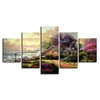 canvas modern wall hd printed painting art modular unframed 5 panel house tree landscape home decor living room pictures poster