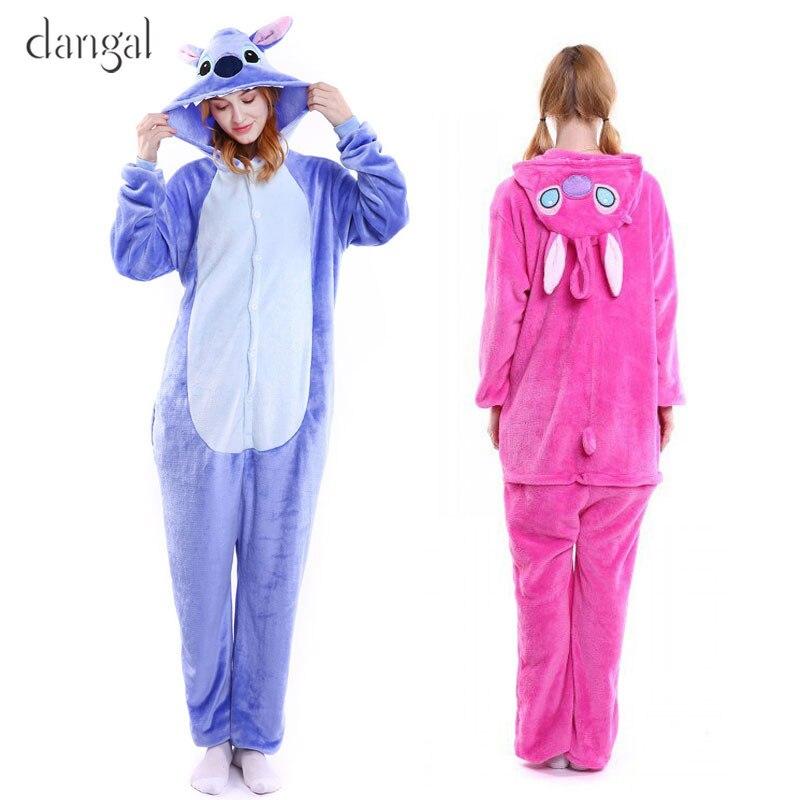 Pijamas Lilo y Stitch, azul, rosa, puntada Kigurumi Stitch, Mono para adultos, traje para parejas, pijamas de lana, bonito, Unisex, suave y cálido