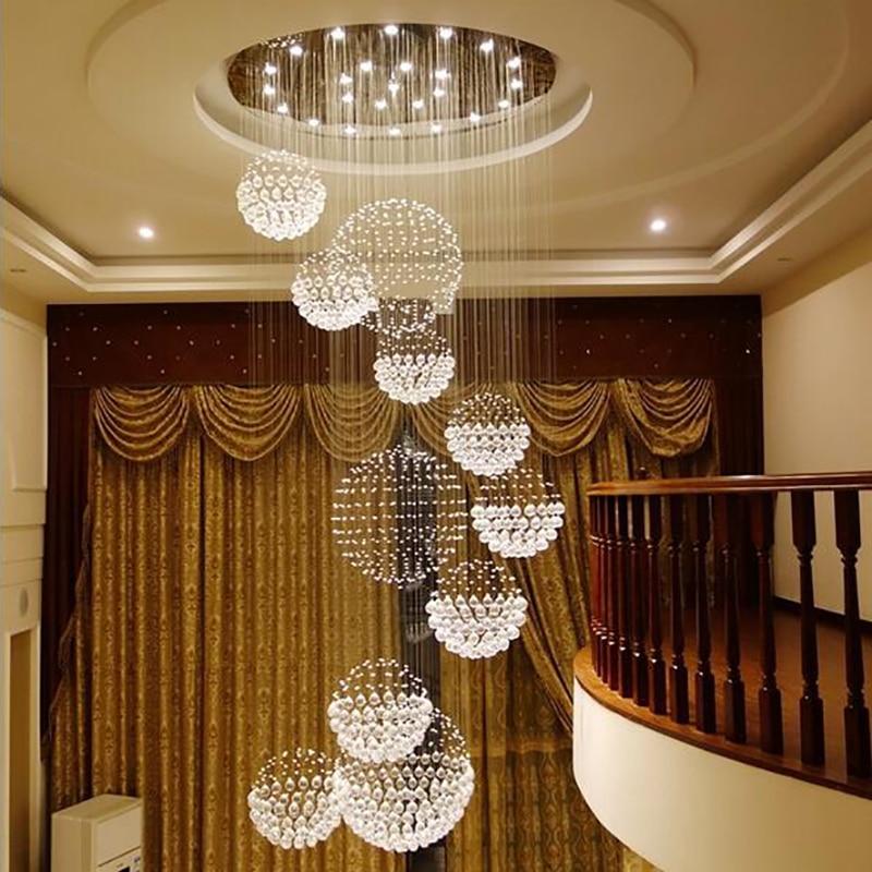 2019 Hot sale new spiral LED crystal chandelier K9 lustre de cristal after sale the estar do lobby escadas+free shipping