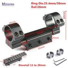 MIZUGIWA plana doble anillos 25,4mm/30mm w/para adaptador de Pin 20mm Picatiiny Milano fusil tejedor + 11mm a 20mm montaje de Caza
