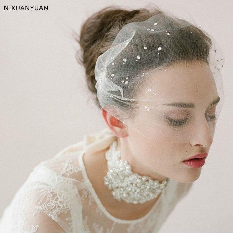 Hermoso sombrero de boda velos tul adultos sombreros para novia con perlas velo de novia de cara corta sombrero de encaje envío gratis