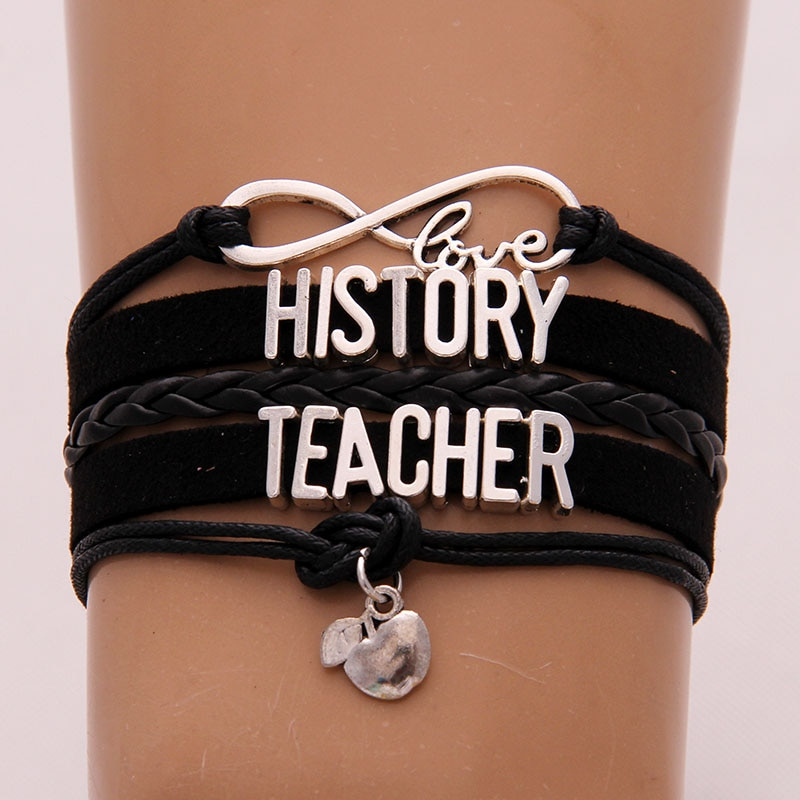 (10pcs/lot) Infinity Love HISTORY TEACHER Bracelet Apple Pendant Black Leather Rope Wrap Bracelets & Bangles Women Men Jewelry