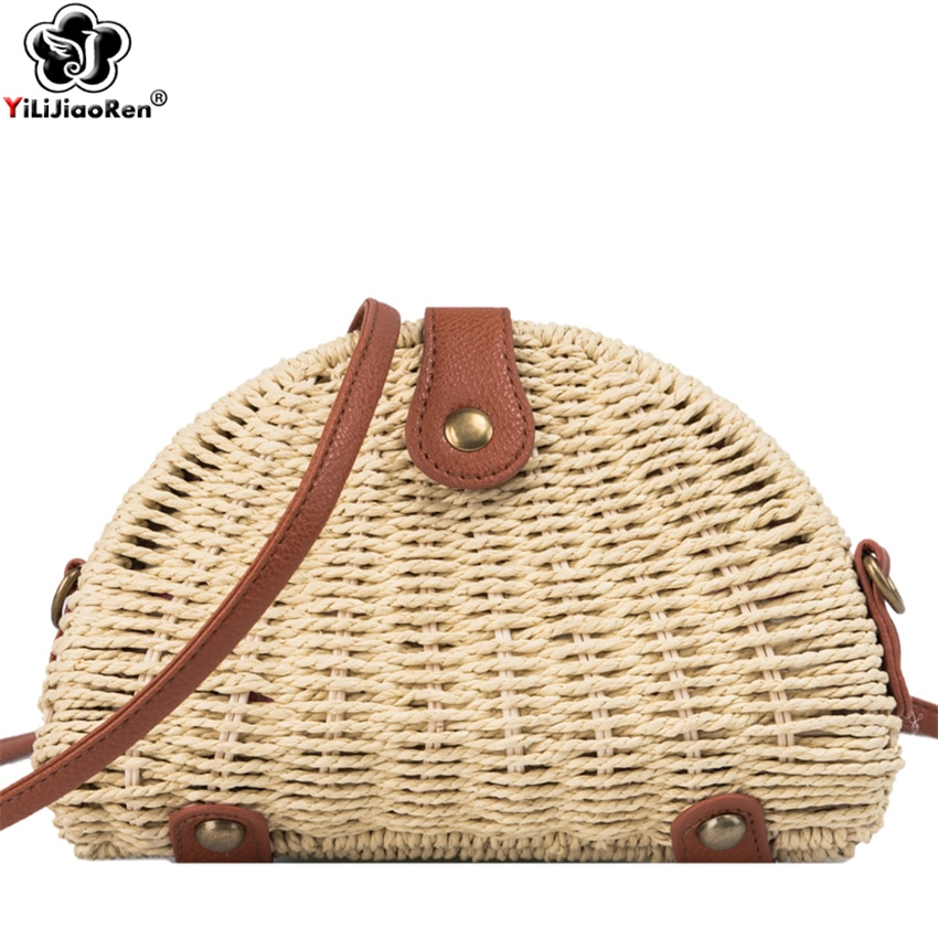 Moda artesanal tecido palha praia saco pequenas senhoras verão bolsa de ombro famosa marca boêmio rattan sacos para mulher borsa mare