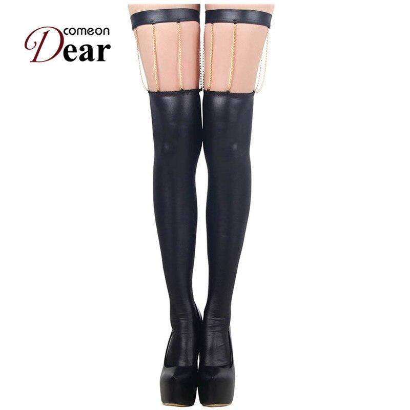 Comeondear New Arrival Fashion Leather Long Socks Black Unique Design Sexy Socks See Through Bodysuit RB80057 Thigh High Socks