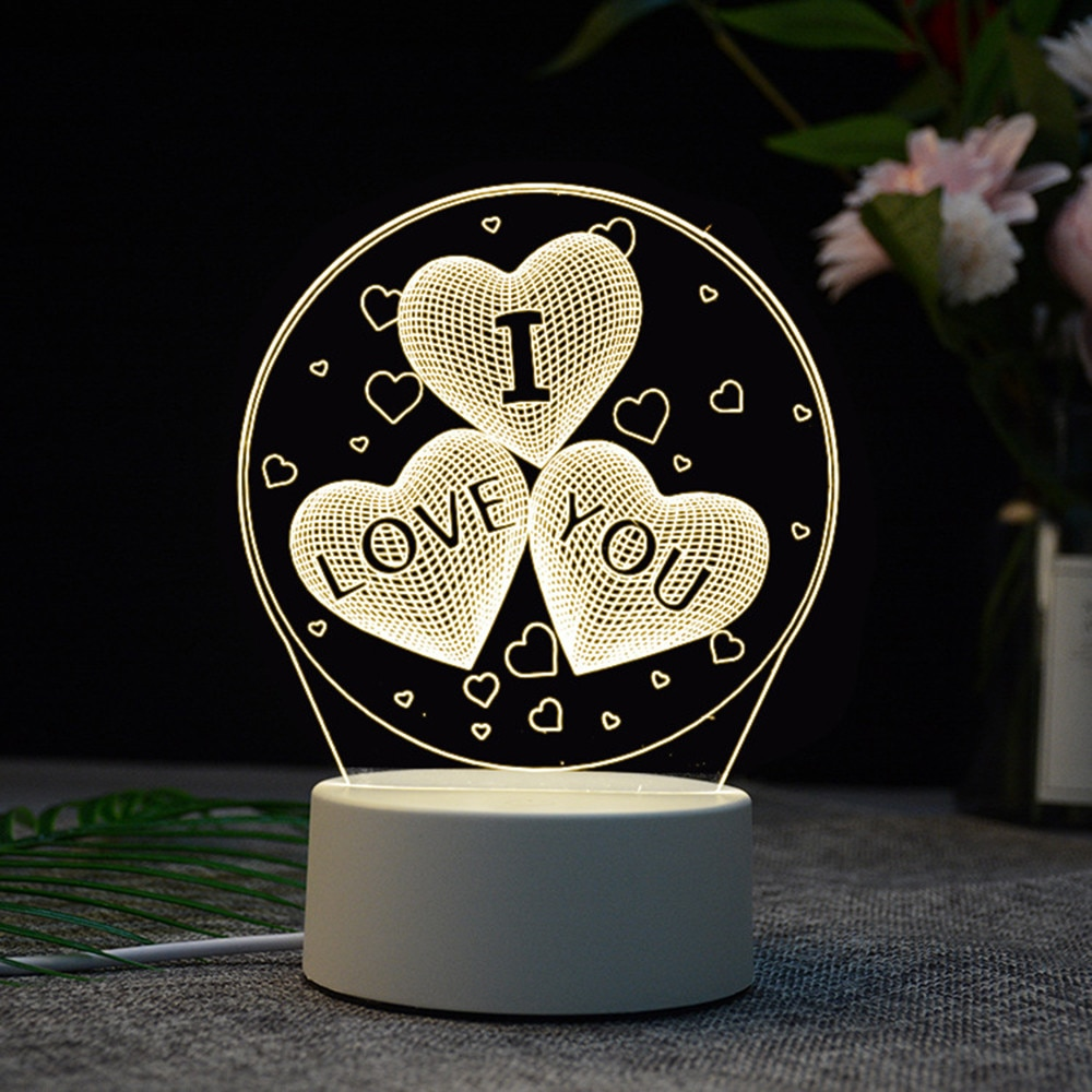 3D USB LED luz acrílico mesa de noche escritorio dormitorio decoración regalo cálido blanco lámpara noche creativa lámpara decoración de Navidad acrílica