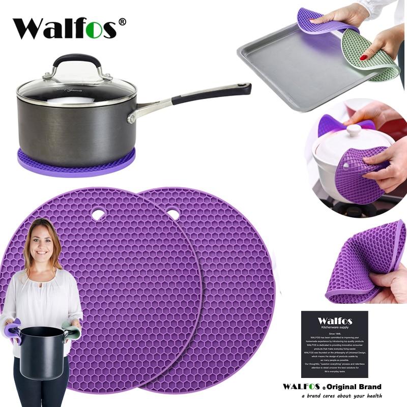 WALFOS Rutschfeste hitzebeständige küche kochen Hot pot abdeckung halter Pad-Silikon gummi Topf deckel Halter-silikon Untersetzer matte