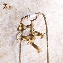ZGRK Shower Faucets Brass Bathroom Mixer Wall Mounted HandHeld Bathroom Sanitary Hand Shower Mixer Tap Sets HS0071Q