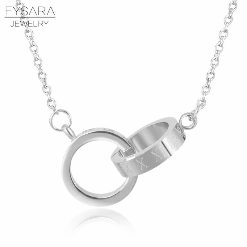 Marca fysara Número Romano de lujo dos círculos doble hebilla COLLAR COLGANTE joyería femenina de acero inoxidable clavícula amor collares