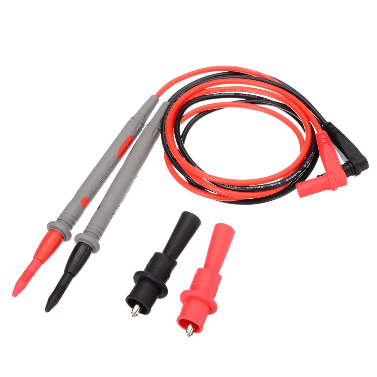 Durable 20A 1000V Kit de cables de prueba de aguja afilada dorada multímetro Cable de prueba con pinza de cocodrilo para probador de multímetro Digital