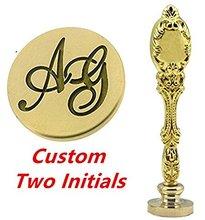 Monogramme Vintage sur mesure de deux lettres   Lettre personnalisée, Logo image, cire dinvitation de mariage, sceau de sceau timbre métal or P