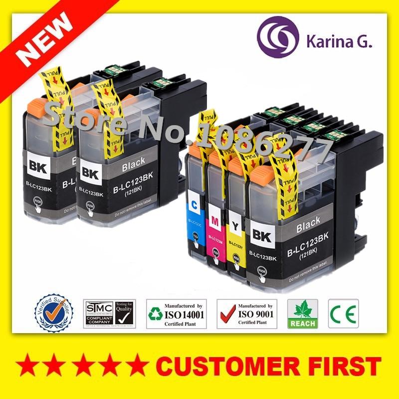 6X cartuchos de tinta, cartuchos de hermano LC123 mfc-J4510DW MFC-J4610DW cartucho de tinta de impresora LC 123 MFC-J4410DW J4710DW