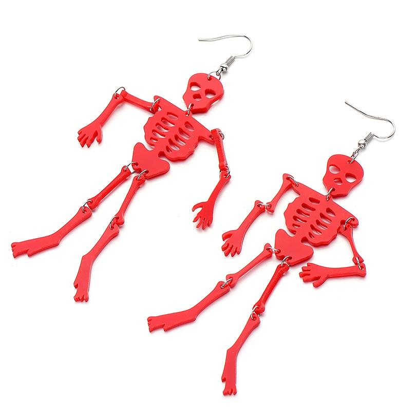 2018 Newest Halloween Style Punk Acrylic Drop Earrings For Women Funny Design Multicolor Skeleton Long Earring Hot Sale