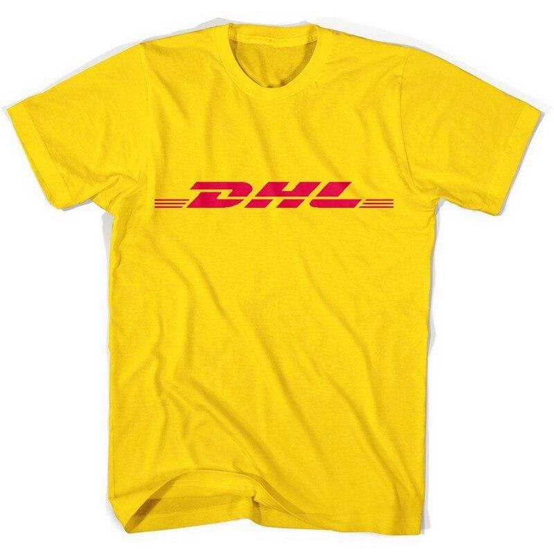 Pudo-Xsxsummer 100% Katoen Dhl T-shirts Letters Logo Gedrukt Geel Korte Mouwen Casual Heren O Hals Shirts Grappig t-shirt