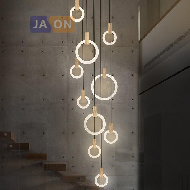 LED Nordic Wooden Iron Acryl Rings DIY LED Lamp LED Light.Pendant Lights.Pendant Lamp.Pendant light For Dinning Room Foyer