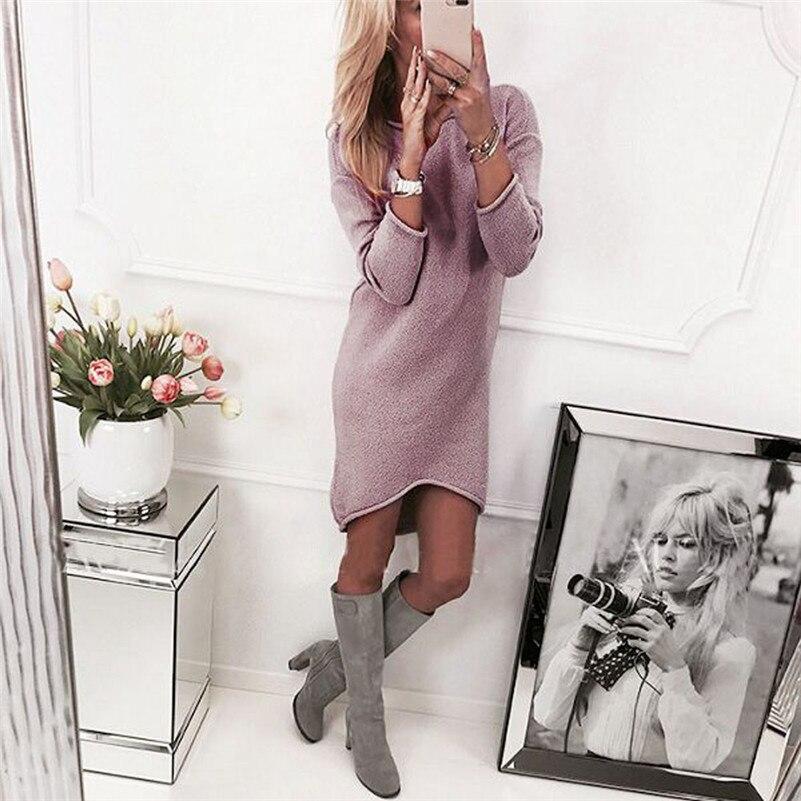 Moda mujer sólido cuello redondo suéter largo Casual manga larga Pullove vestido #4S8