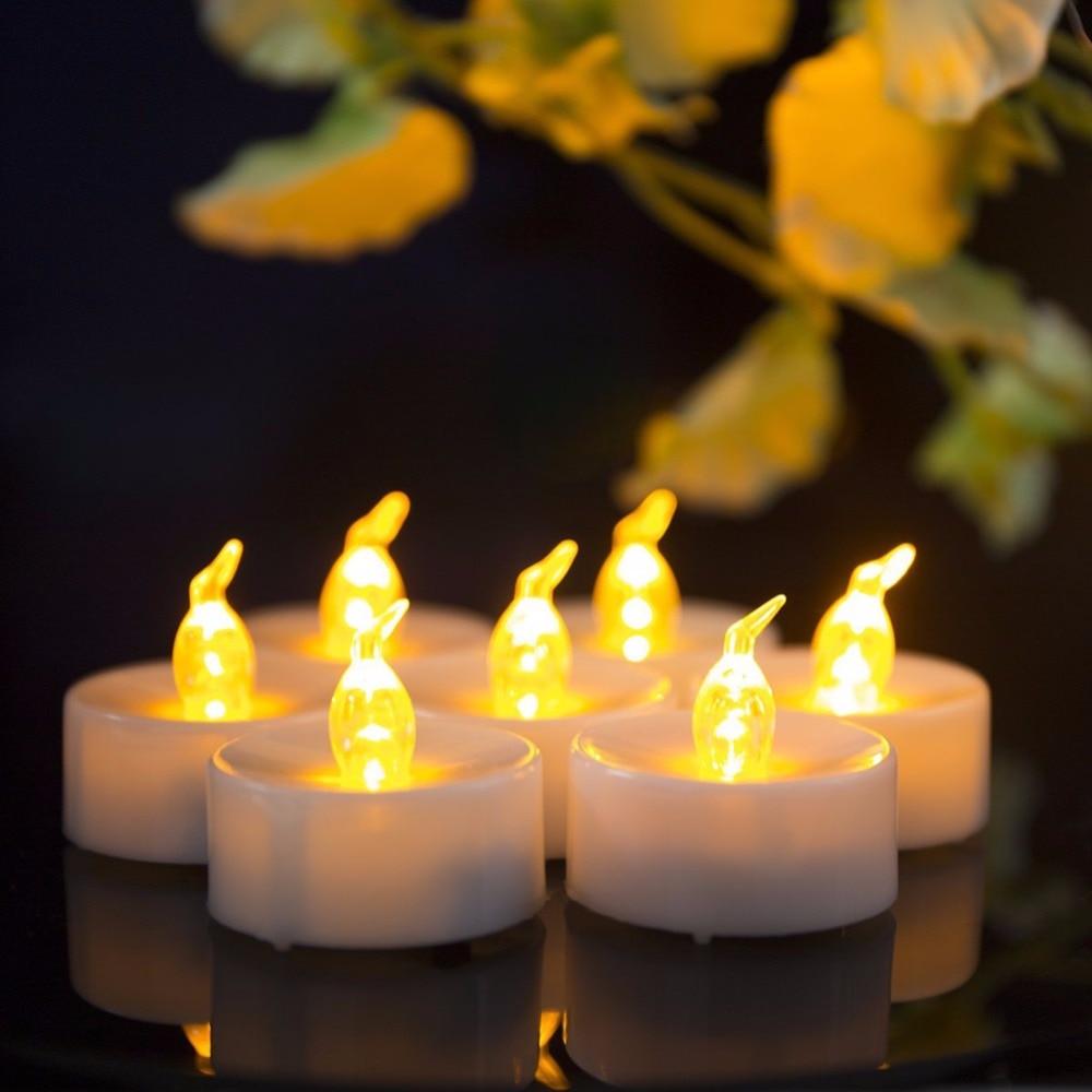 Velas parpadeantes de 12 piezas, Mini vela Led dorada, ámbar, parpadeante, decoración,...