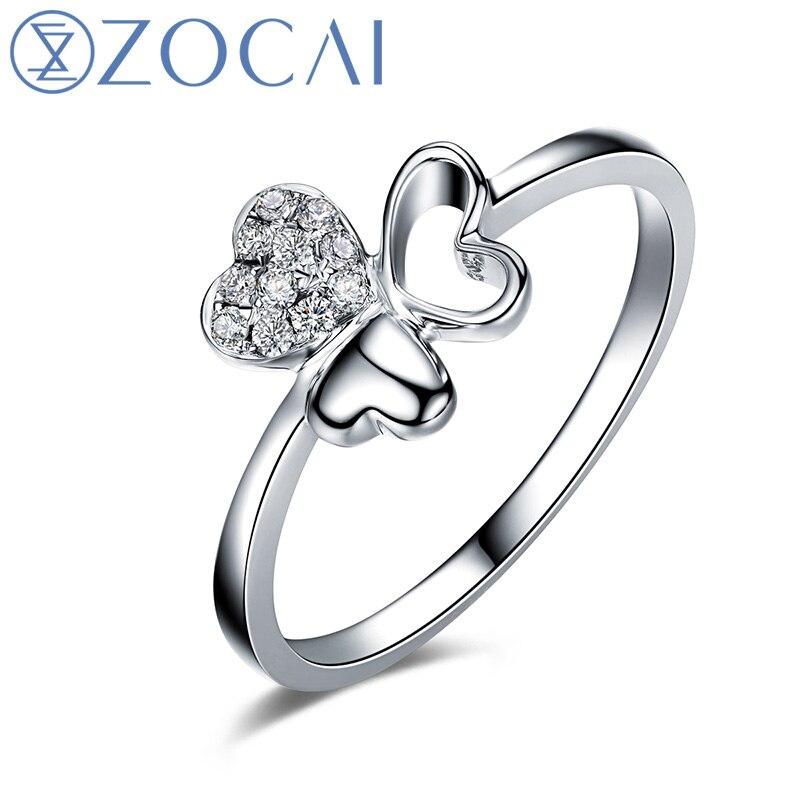 ZOCAI خاتم الماس الطبيعي 100% قيراط 0.08 18K الذهب الأبيض الماس خاتم الزفاف W05892
