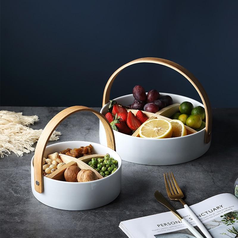 Ins cerâmica placa de frutas sala de estar de luxo high-end prato de casa sobremesa frutas secas lanche prato compartimento doces cesta de lanche