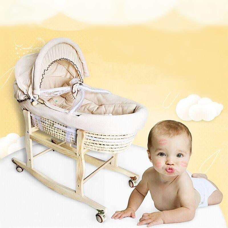 Портативная плетеная детская корзинка-качалка, детская кроватка, натуральный окрашенный хлопок, спальная Колыбель для новорожденных, для а...