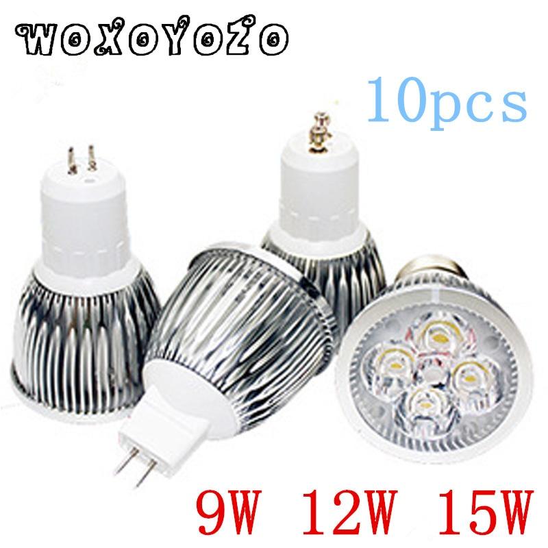 10 Uds. Bombillas Led Cree de alta potencia E27 B22 MR16 9W 12W 15W regulable E14 GU5.3 GU10 luces Led Spot lámparas led downlight