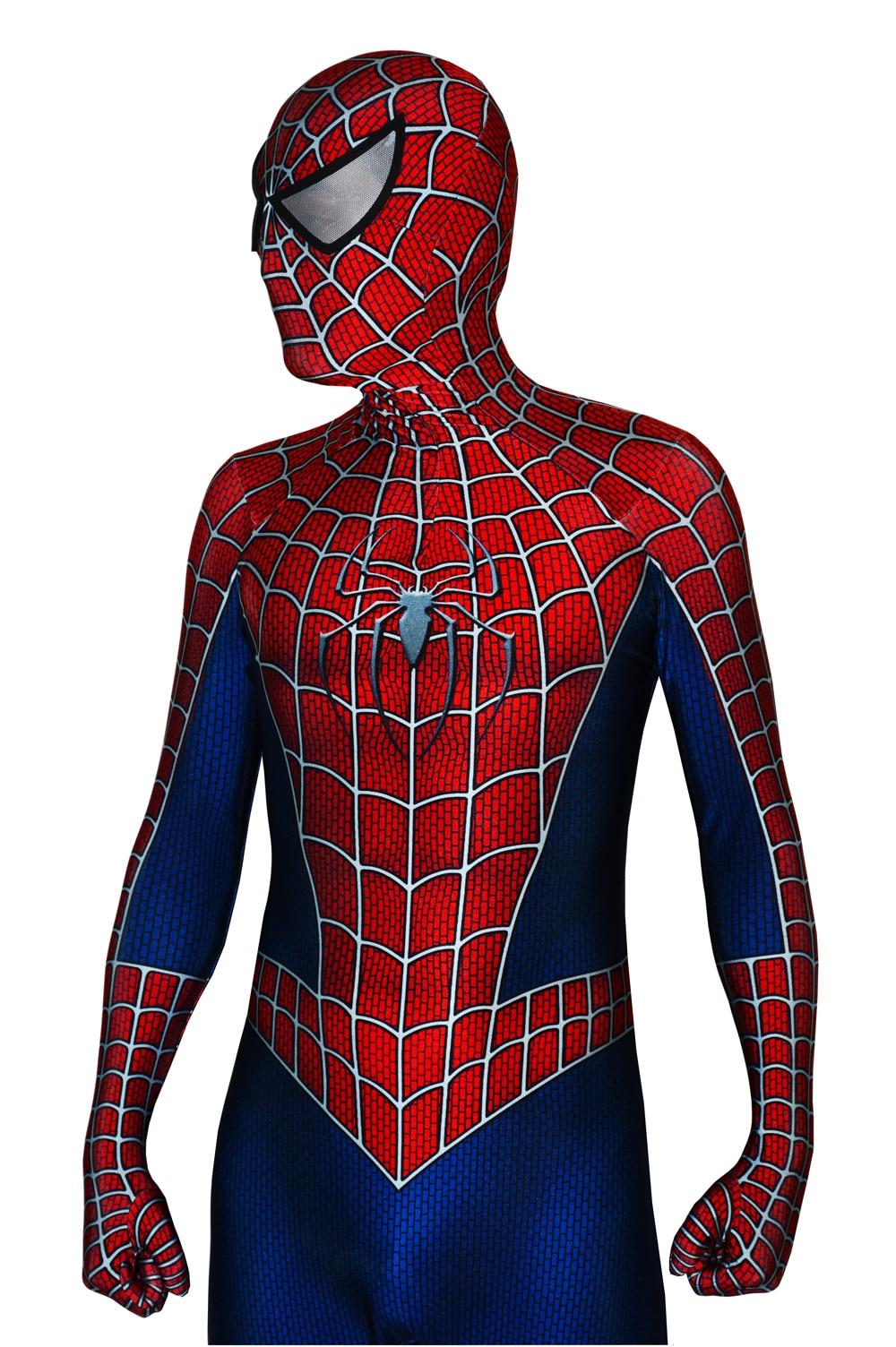 2019 disfraz de Spiderman Raimi estampado 3D de Halloween Zentai traje de Spiderman Cosplay body envío gratis