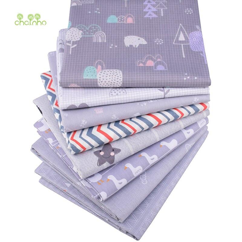 Chainho, serie de dibujos animados grises, tela de algodón de sarga impresa, tela de retales para costura y acolchado DIY, Material para bebés y niños CC345
