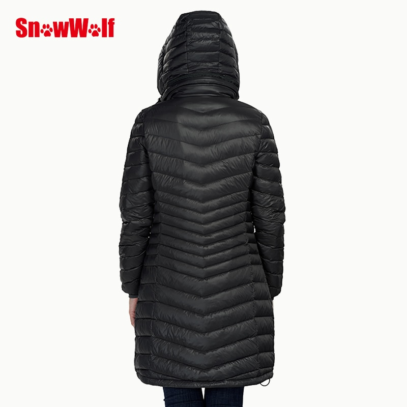 SNOWWOLF  Women Winter Duck Down Jacket USB Infrared Heated Hooded Long Outdoor Sport Camping Fishing Thermal Heating Coat enlarge