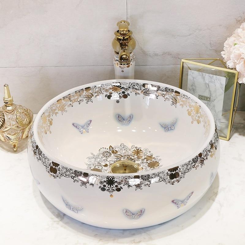 Sanitary ceramic basin sinks art stage home European butterfly face basin sink