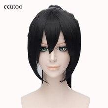 Perruque synthétique longue lisse noire 28 pouces-ccutoo   Postiche Hakuouki Yukimura Chizuru, perruque Cosplay en Fiber de haute résistance à la chaleur, queue de cheval complète