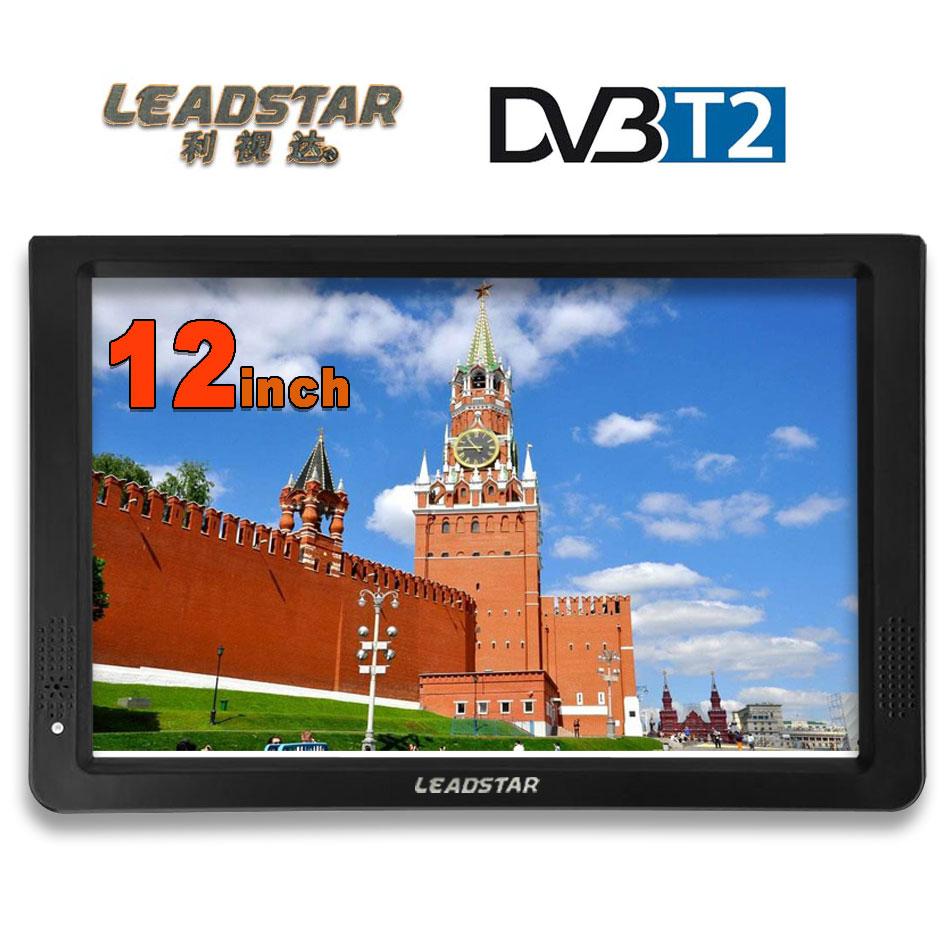 LEADSTAR HD TV portátil 12 pulgadas Digital analógica Led televisores soporte tarjeta SD USB Audio coche televisión DVB-T DVB-T2