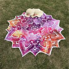 Novo yoga tapete redondo mandala indiana tapeçaria lótus tapete yoga boêmio flor impresso xale borla sunblock praia esteira