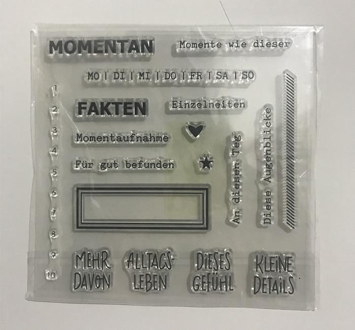 CLEAR STAMP German DIY Scrapbook Card album paper craft silicon rubber roller transparent stamps 989