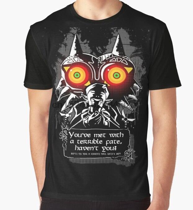 Camiseta estampada para hombre, divertida camiseta Majoras Mask-Meeting With a Terrible Fate, camiseta de manga corta con cuello redondo para mujer