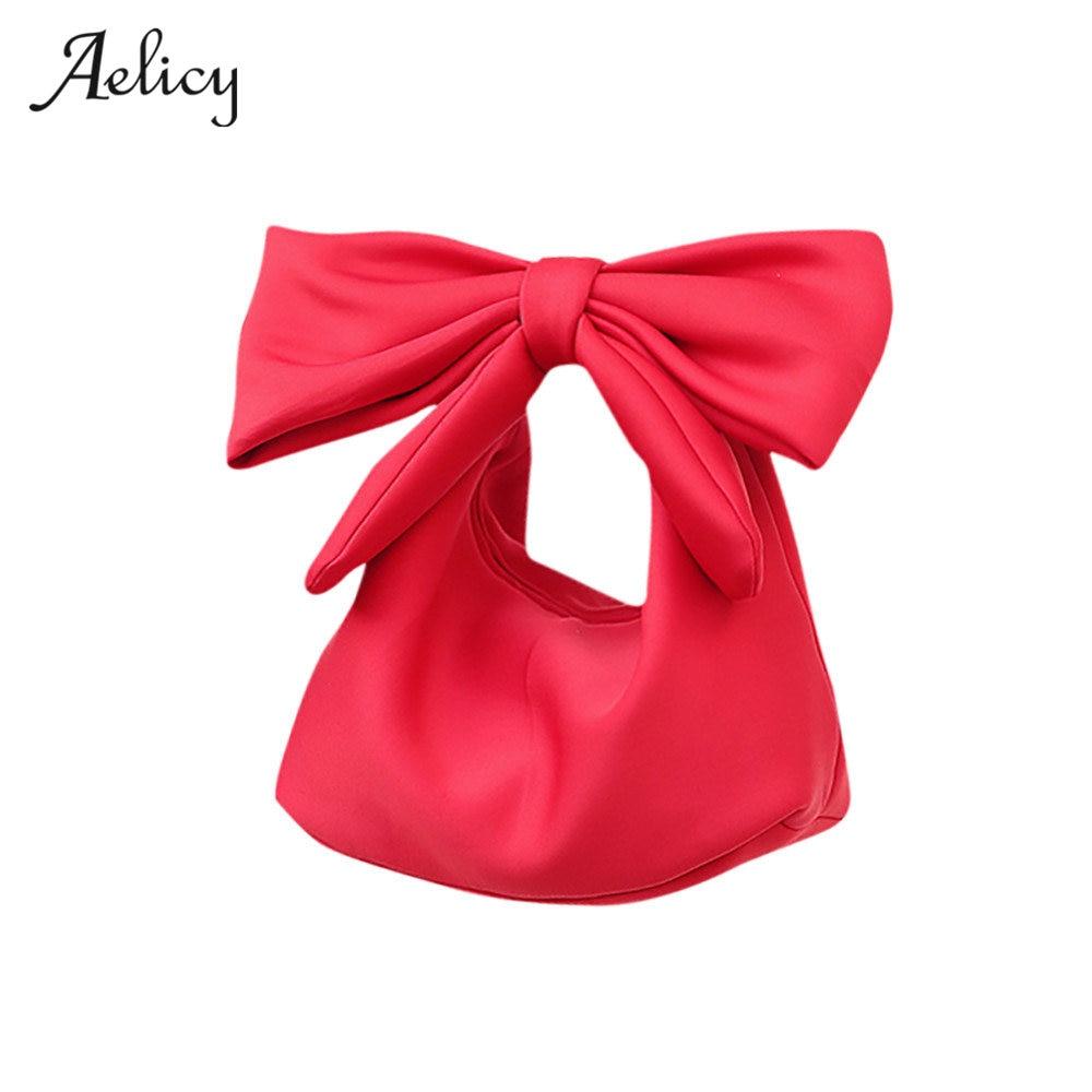 Aelicy bolsa de couro de alta qualidade bonito para as mulheres adorável bowknot espaço algodão bolsa hobos saco moda acessórios para mulher