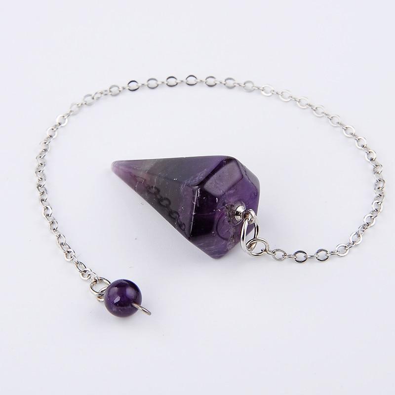 Classic Big Size Men Women Natural Stone Healing Jewelry Reiki Pyramid Hexagonal Pendulum Chain Pendant Charms Chakra Amulet