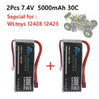 2PCS New Version Rc Lipo Battery 2S 7.4V 5000mah 30C Max 60C for Wltoys 12428 12423 1:12 RC Car Spare parts