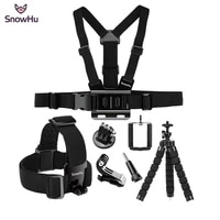 SnowHu For Gopro Hero Action camera accessories Headband Tripod Chest band hero 9 8 7 6 5 4 for EKEN H9 Yi 4K GS65