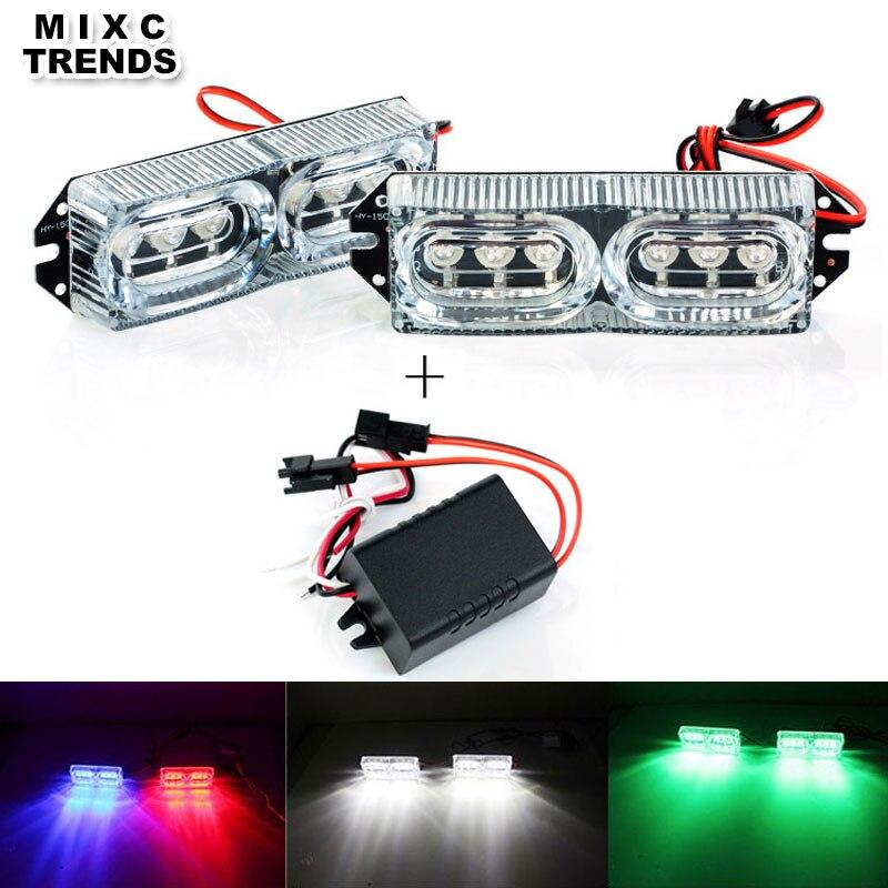 De alta potencia de 2x6 LED DRL de luz estroboscópica de freno luz de día 12V 12W coche flash estroboscópico policía luz de advertencia con controlado