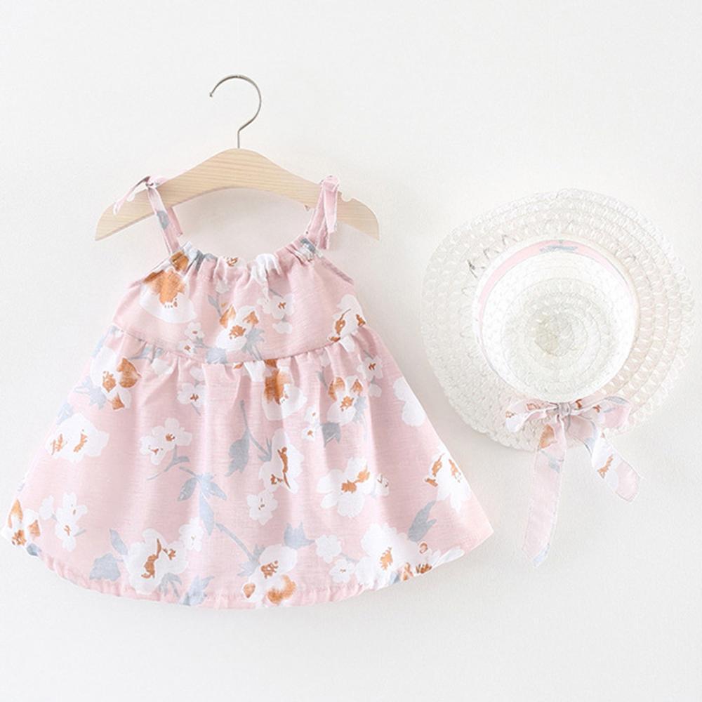 Baby Girl Dress Infant Baby Girls Sleeveless Flower Floral Print Princess Dress+Hat Cap New Korean Sling Dresses vestidos A1